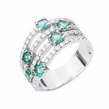 Золотое кольцо Каравелла в белом цвете с изумрудами и бриллиантами