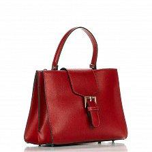 Кожаная деловая сумка Genuine Leather 8681 красного цвета с клапаном на магнитной кнопке