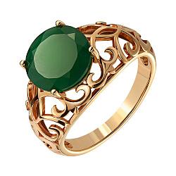 Кольцо из красного золота с агатом 000140093