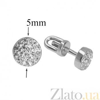 Серебряные серьги-пуссеты с фианитами Джейн PTL--7с423/01