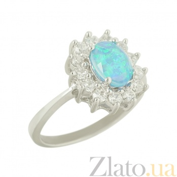 Серебряное кольцо с дуплетом из опала и стекла Морин 3К846-0097