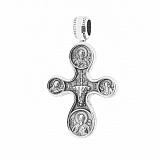 Серебряный черненый крестик Сила духа с молитвой и изображениями святых