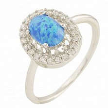 Серебряное кольцо Эсфирь с синим опалом и фианитами
