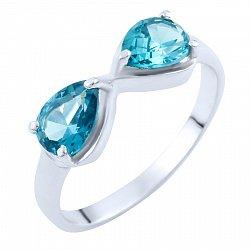 Серебряное кольцо с синтезированными лондон топазами 000055855