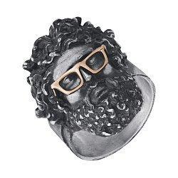 Серебряный перстень Zeus в золотых очках