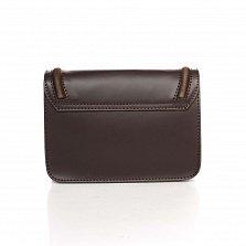 Кожаный клатч Genuine Leather 1603 темно-коричневого цвета с металлическим замком и плечевым ремнем