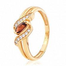 Золотое кольцо Офелия с гранатом и фианитами
