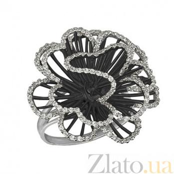 Кольцо из белого золота Нежный цветок с фианитами VLT--ТТ1042