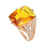 Золотое кольцо с цитрином и фианитами Джина