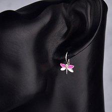 Серебряные серьги Веселая стрекоза с цирконием, розовой и белой эмалью