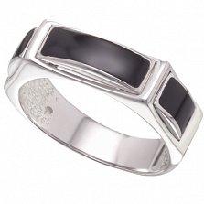 Мужское серебряное кольцо Атрей с черной эмалью