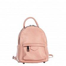 Кожаный рюкзак Genuine Leather 8002 нежно-розового цвета с накладным карманом на молнии