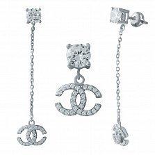 Серебряные серьги-пуссеты Парижанка с фианитами в стиле Шанель
