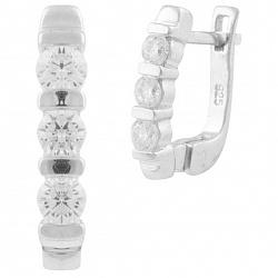 Серебряные серьги Снежное трио с перегородками и белыми фианитами