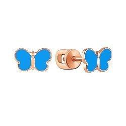Серьги-пуссеты из красного золота с синей эмалью 000137849
