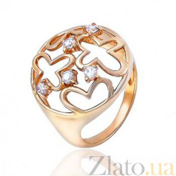 Золотое кольцо с резными цветами Очарование EDM--КД0428