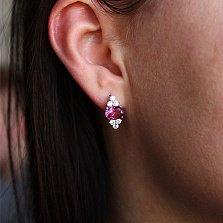Серебряные серьги Шарлотта с розовым топазом и фианитами
