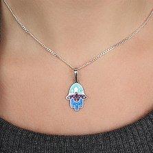 Серебряная подвеска Ладошка Фатимы с эмалью