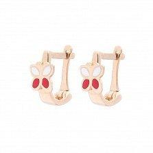 Детские золотые серьги Двухцветные бабочки с белой и красной эмалью