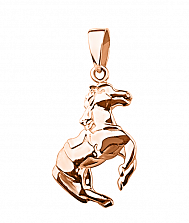 Кулон из красного золота Быстрый конь
