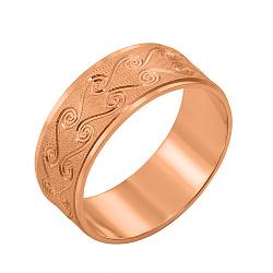 Золотое обручальноекольцо Виола в красном цвете с орнаментом и алмазной гранью