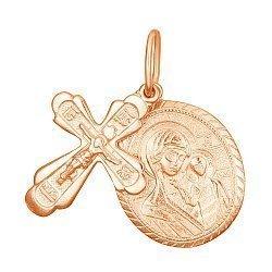 Серебряный крестик с ладанкой Святая любовь с позолотой 000028631