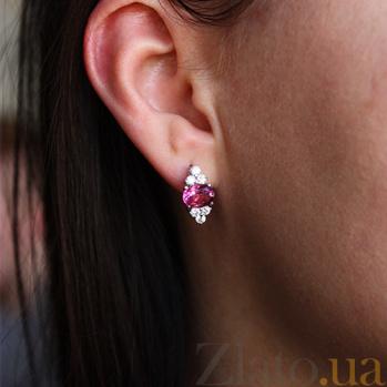 Серебряные серьги Шарлиз с розовым топазом и фианитами 000032401