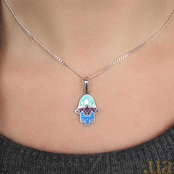 Серебряная подвеска Ладошка Фатимы с эмалью 23038