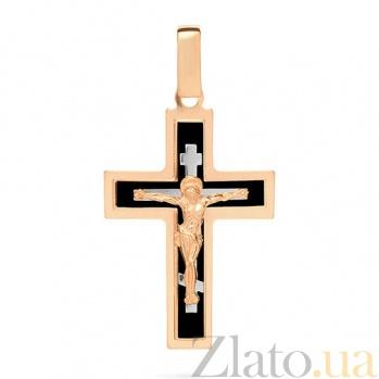 Золотой крестик Символ веры с черной эмалью SUF--541131нч