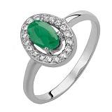 Серебряное кольцо Лия с зеленым агатом и фианитами