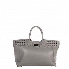 Кожаная деловая сумка Genuine Leather 8947 серого цвета с декоративными заклепками