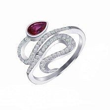 Серебряное кольцо Блистающая змея с рубиновым и белым цирконием