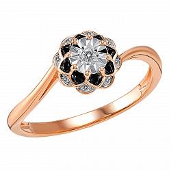 Кольцо из красного золота Ольга с черными и белыми бриллиантами