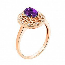Кольцо из красного золота с аметистом и фианитами 000133426