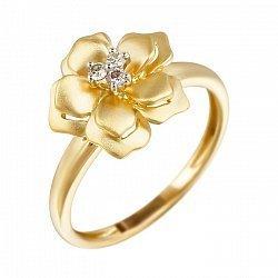 Кольцо из желтого золота с бриллиантами 000080966
