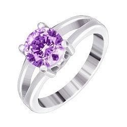 Серебряное кольцо с аметистовым фианитом 000028306