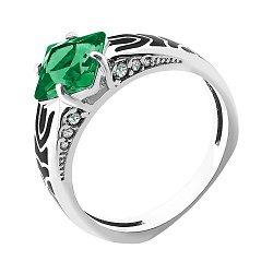 Серебряное кольцо с зеленым алпанитом, эмалью и фианитами 000094574