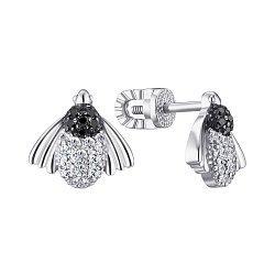 Серебряные серьги-пуссеты с фианитами 000148578