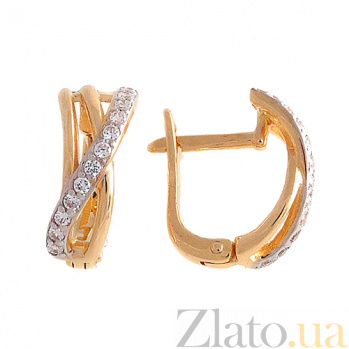 Золотые серьги с цирконием Эмили SVA--2100913101/Фианит/Цирконий