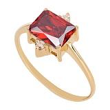 Золотое кольцо с гранатом и фианитами Мадлен