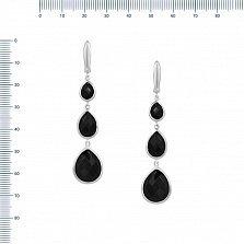 Серебряные серьги-подвески Рената с черным ониксом