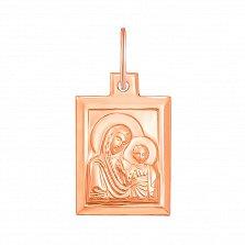 Ладанка Богоматерь с младенцем в красном золоте