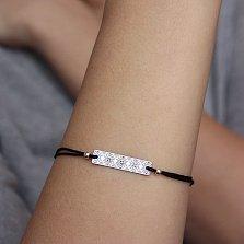 Черный шелковый браслет Вышиванка с серебряной узорной вставкой