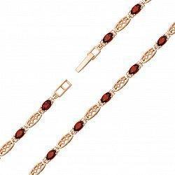 Браслет из красного золота с гранатами и фианитами 000134947