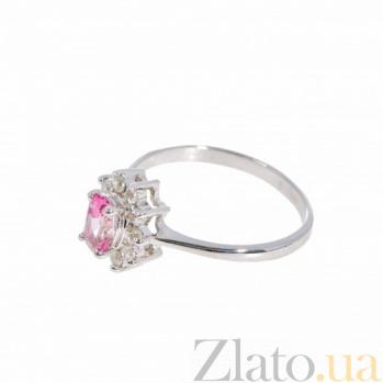 Серебряное кольцо Малинка с розовым топазом и фианитами 000098939