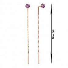 Золотые серьги-протяжки Лучик в красном цвете с фиолетовым цирконием