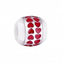 Серебряный шарм Путь сердца с белой керамикой и красной эмалью