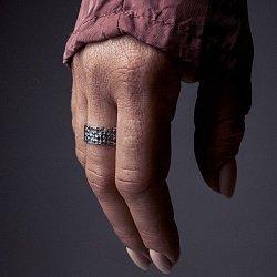 Каблучка зі срібла Fibers з чорнінням 000091407