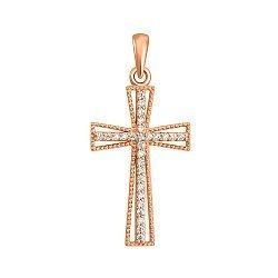Золотой крестик с кристаллами циркония 000098683