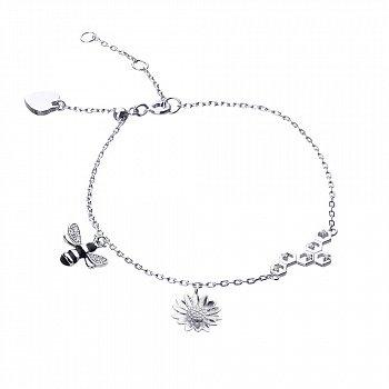 Серебряный браслет с эмалью и фианитами 000113639